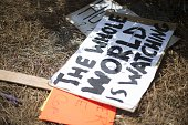 Placards litters the ground after protesters gathered outside the North Charleston City Hall in North Charleston South Carolina on April 8 2015...