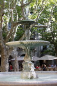 Place aux Herbes fountain in Uzes Uzes France