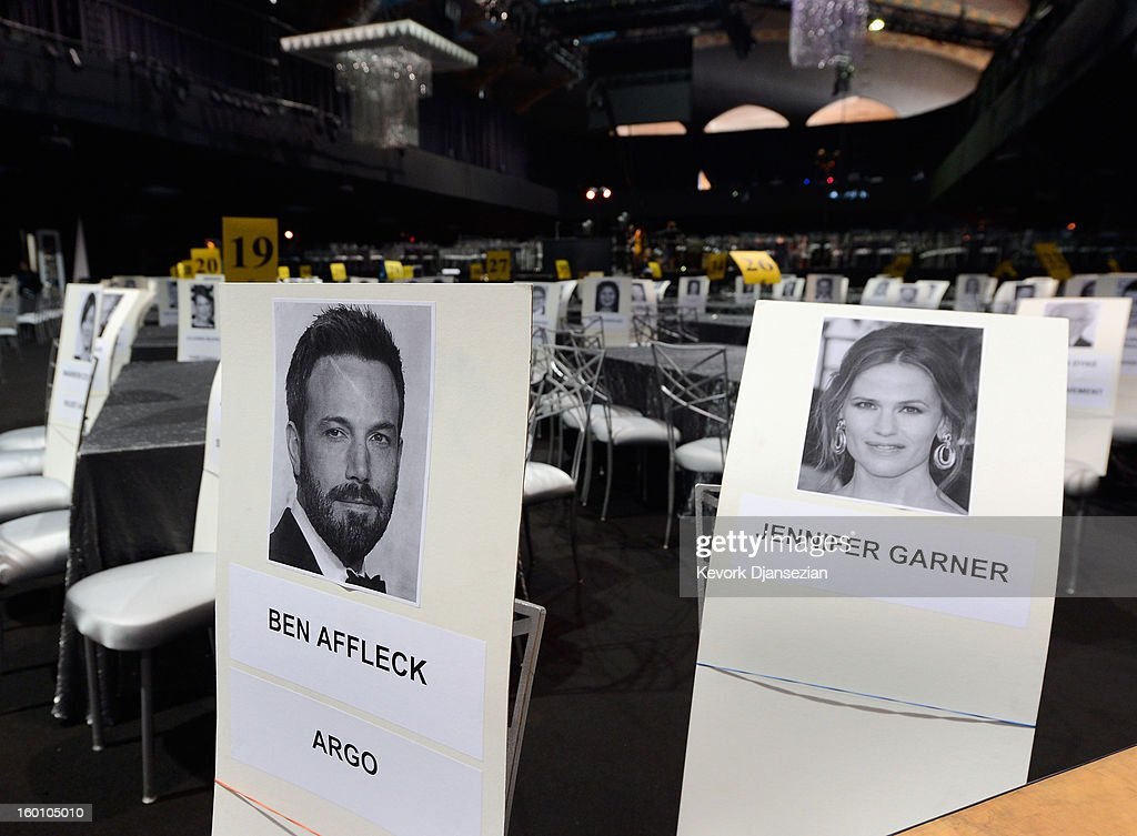 Place cards show the location of celebrities where they will be seated in the ballroom during the 19th Annual Screen Actors Guild Awards at The Shrine Auditorium on January 26, 2013 in Los Angeles, California.