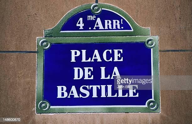 Place de la Bastille sign.