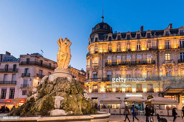 Place de la Comedie with Three Graces fountain in the city centre of Montpellier