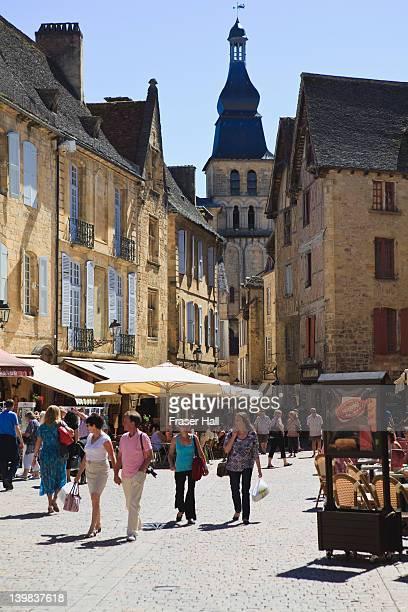 Place de la Liberte, the main square in the medieval town of Sarlat-le-Caneda, Dordogne, Aquitaine, France
