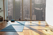 Special room for doing yoga in human apartment. Mat on floor near window with city view