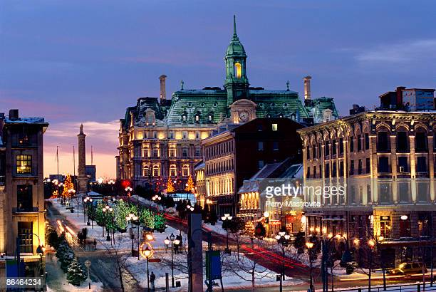 Place Jacques Cartier on a winter night, Old Montreal, Quebec, Canada