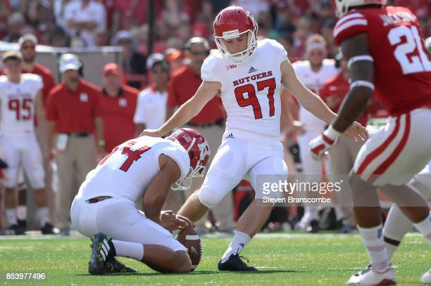 Place kicker Andrew Harte of the Rutgers Scarlet Knights kicks against the Nebraska Cornhuskers at Memorial Stadium on September 23 2017 in Lincoln...