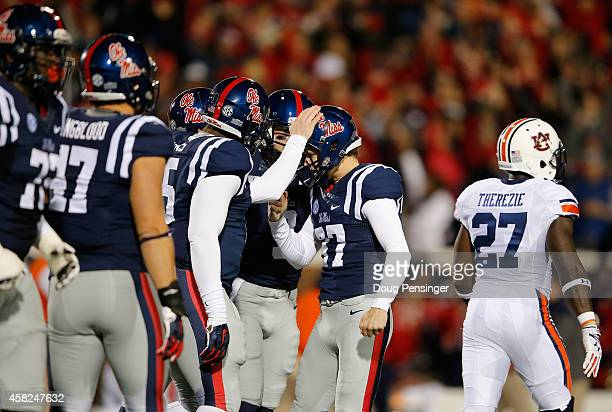Place kicker Gary Wunderlich of the Mississippi Rebels celebrates his 47 yard field goal against the Auburn Tigers to take a 1713 lead at the end of...