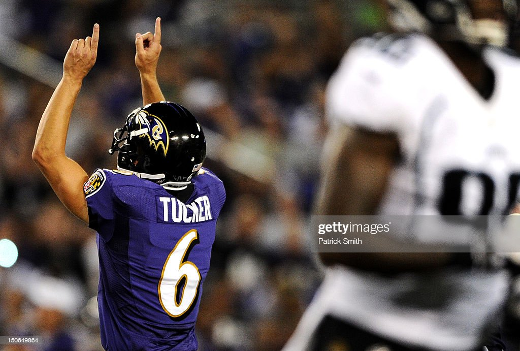 Place kicker Justin Tucker #6 of the Baltimore Ravens celebrates a field goal against the Jacksonville Jaguars in the second second quarter at M&T Bank Stadium on August 23, 2012 in Baltimore, Maryland.