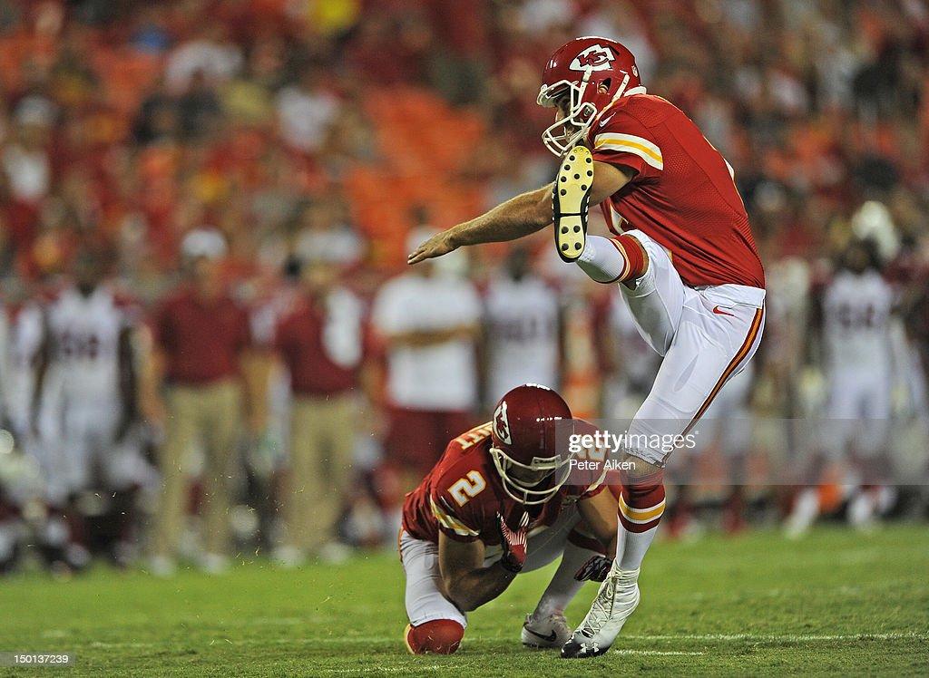 Place kicker Ryan Succop #6 of the Kansas City Chiefs kicks a 24-yard field goal against the Arizona Cardinals during the second half on August 10, 2012 at Arrowhead Stadium in Kansas City, Missouri. Kansas City defeated Arizona 27-17.