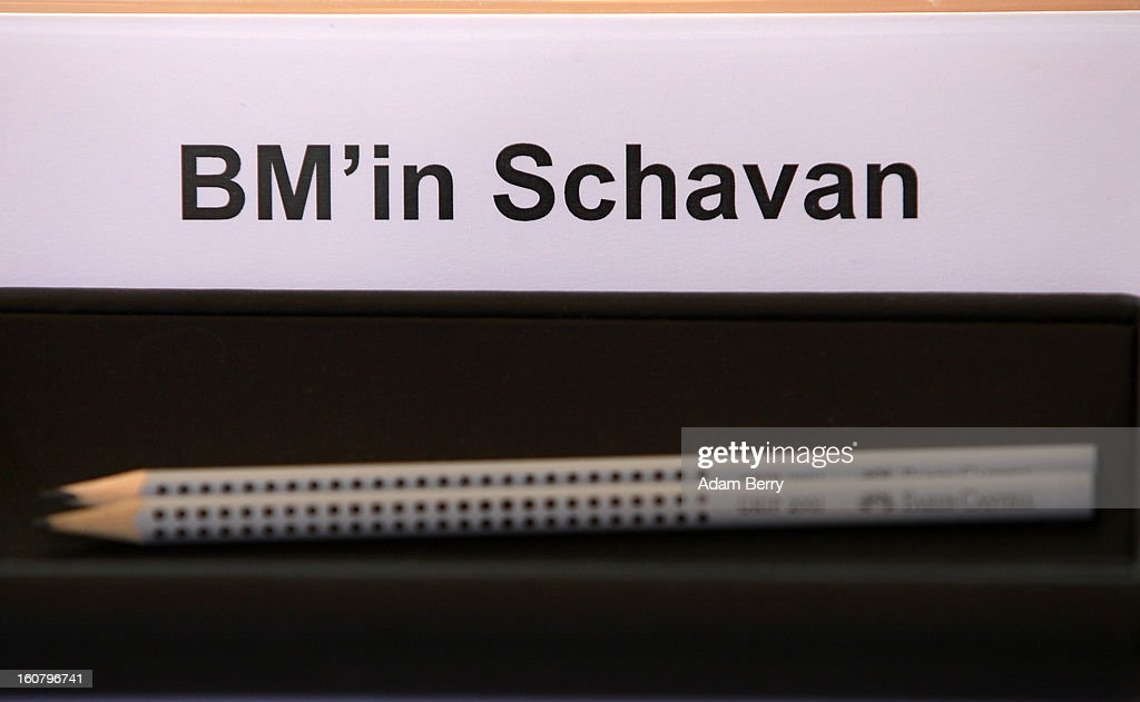 A place marker is seen at the empty seat of German Education Minister Annette Schavan prior to the weekly German government cabinet meeting on February 6, 2013 in Berlin, Germany. The University of Dusseldorf retracted Schavan's doctoral degree on Tuesday evening after the institute decided that she plagiarized portions of it while a student 30 years ago, making her the latest in a series of German politicians in the past two years to lose such a degree due to insufficient annotation.