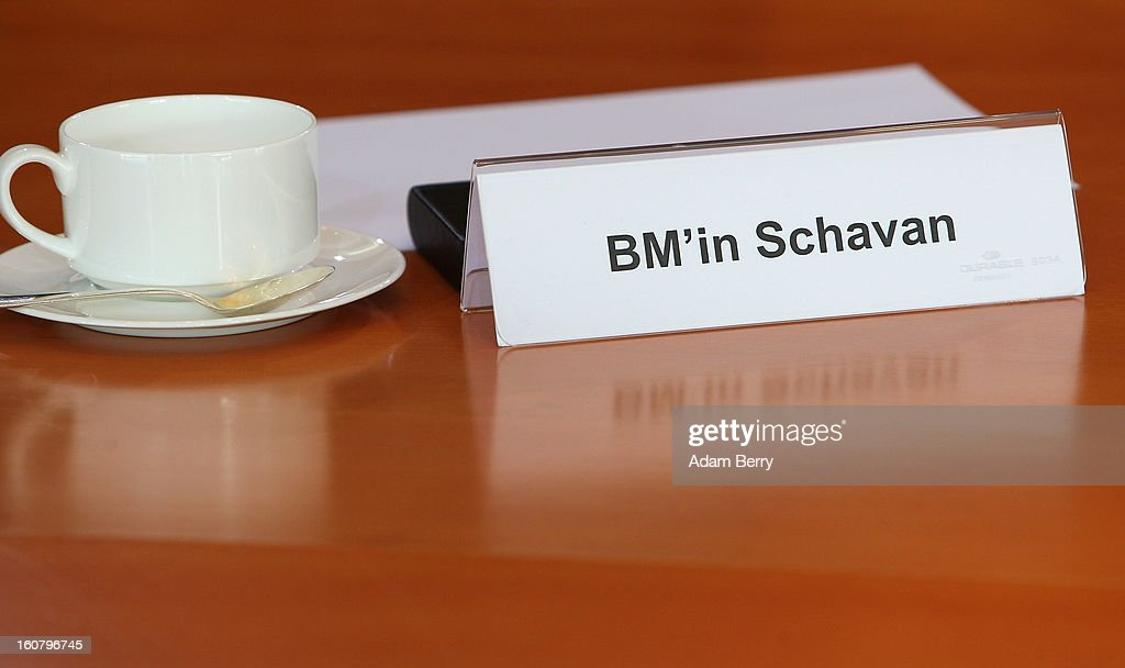 A place marker sits at the empty seat of German Education Minister Annette Schavan prior to the weekly German government cabinet meeting on February 6, 2013 in Berlin, Germany. The University of Dusseldorf retracted Schavan's doctoral degree on Tuesday evening after the institute decided that she plagiarized portions of it while a student 30 years ago, making her the latest in a series of German politicians in the past two years to lose such a degree due to insufficient annotation.