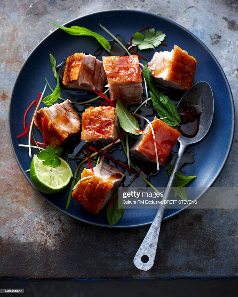 Place of cubed pork and lime : Stock Photo