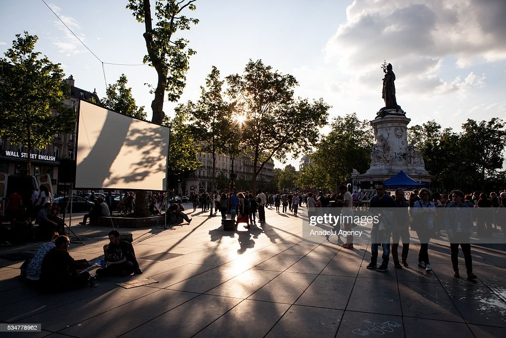 Place of the Republique is prepared for a film screening tonight during the Global Debout meeting 'Nuit Debout' ('The Night awake' or Up all night') in Paris, France on May 27, 2016.