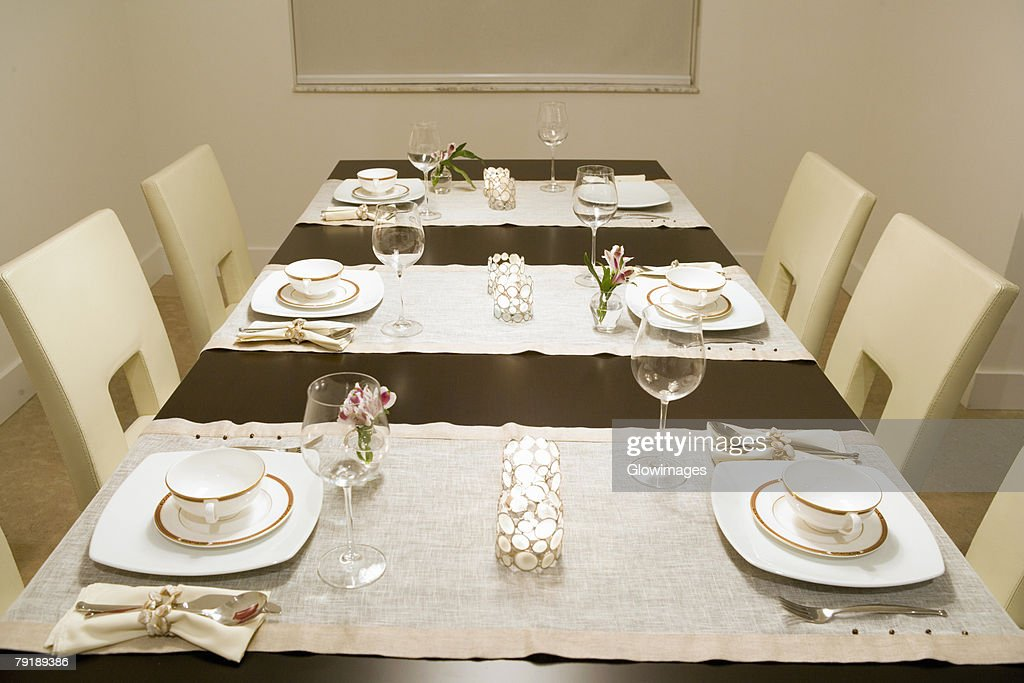 Place setting on a dining table : Stock Photo