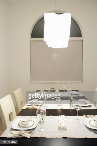 Place setting on a dining table : Foto de stock