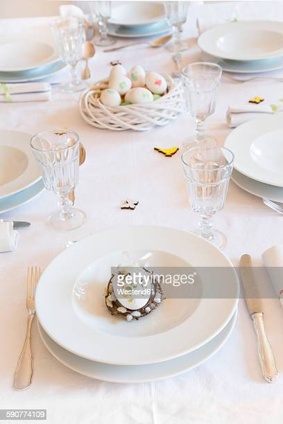 Place setting on laid Easter table