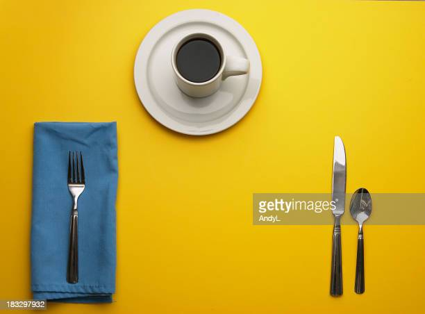Place Setting on Yellow with Room for Your Plate