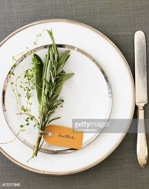 Place Setting with a Bouquet of Herbs and a Name Tag