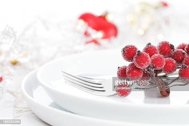 Place setting with elegant cranberries on top of plate