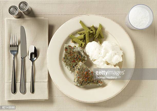 place setting with food and drink