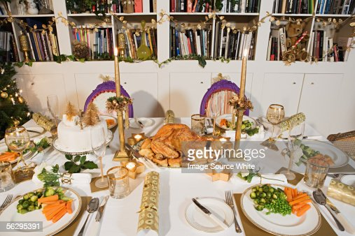 Place settings for Christmas dinner : Stock Photo