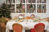 Place settings for Christmas dinner