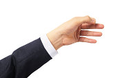 """""""BusinessmanA's hand simulating holding a card or other object, isolated on white background."""""""