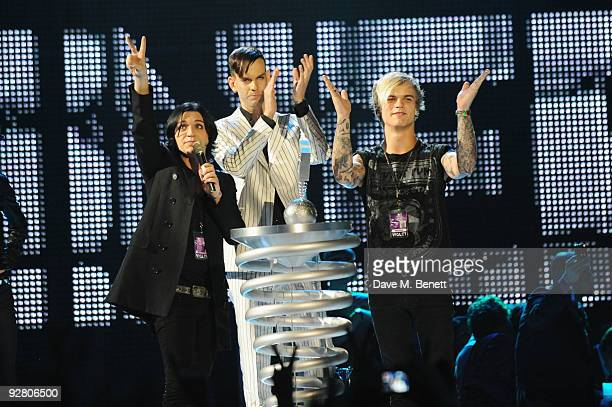 Placebo recieves the award for Best Alternative during the 2009 MTV Europe Music Awards held at the O2 Arena on November 5 2009 in Berlin Germany