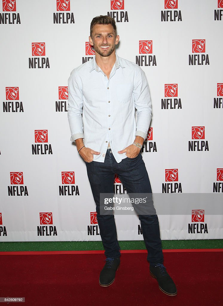 Placekicker Blair Walsh of the Minnesota Vikings poses at the NFLPA Sports Activation Zone during the Licensing Expo 2016 at the Mandalay Bay...