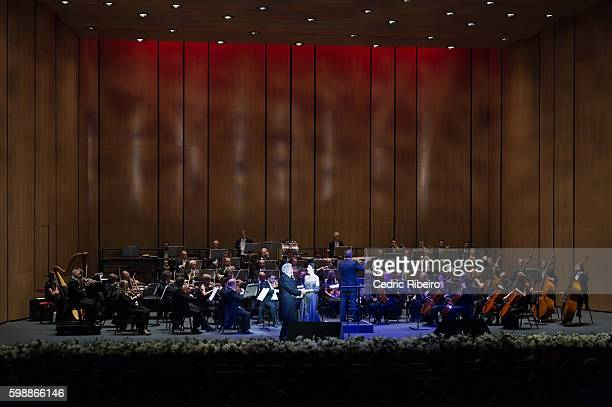 Placido Domingo and Ana Maria Martinez perform during the Opening Night of Dubai Opera on August 31 2016 in Dubai United Arab Emirates