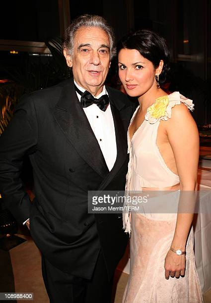 Placido Domingo and Anna Netrebko during LA Opera Afterparty for the Opening of 'Manon' September 30 2006 at LA Opera in Los Angeles California...