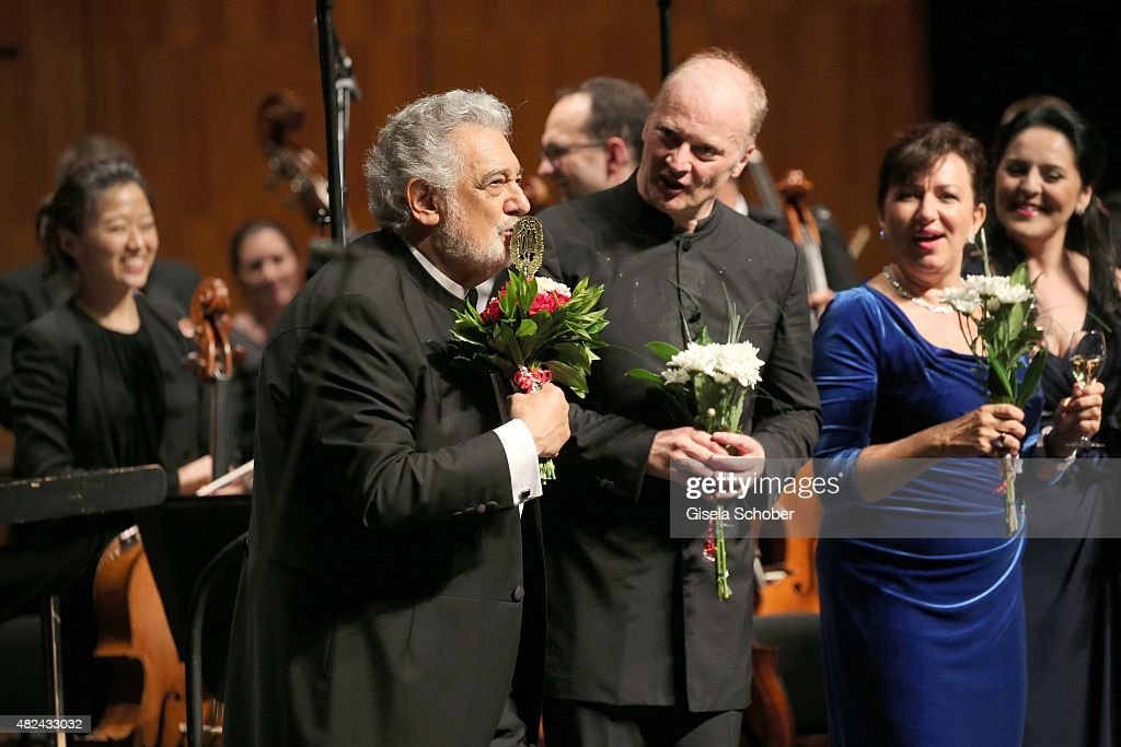 Placido Domingo and Conductor Gianandrea Noseda attend the 40 year stage anniversary of Placido Domingo during the Salzburg Festival on July 30 2015...