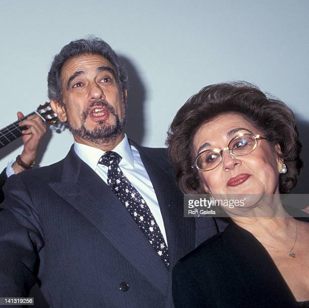 Placido Domingo and Marta Ornelas at the Grand Opening of Restaurant Domingo Restaurant Domingo New York City