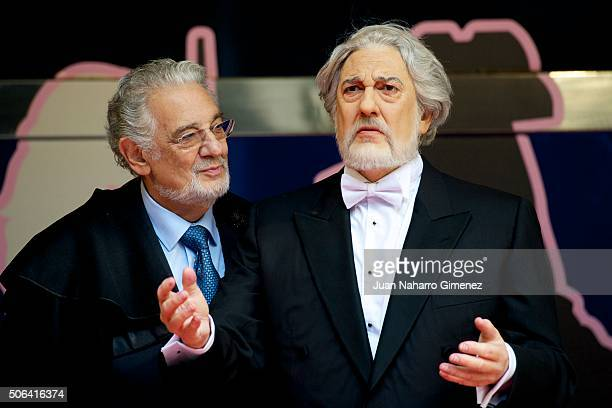 Placido Domingo attends the wax figure of Placido Domingo presentation at Museo de Cera de Madrid on January 23 2016 in Madrid Spain