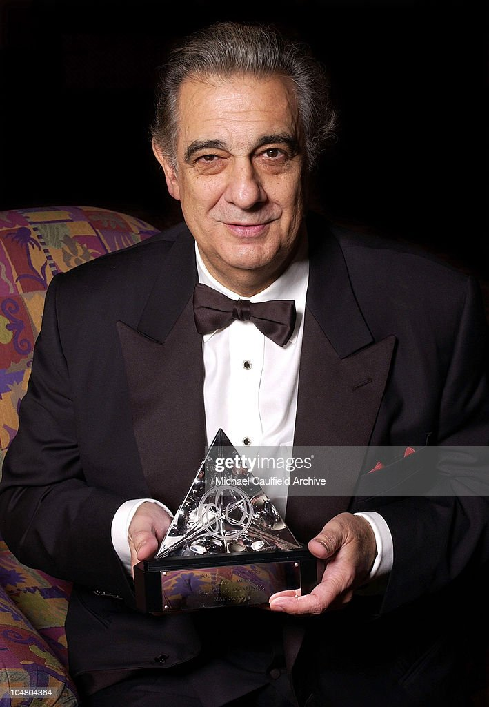 Placido Domingo displays his ELLA award. during Placido Domingo honored with the 11th Annual ELLA Award at Beverly Hilton Hotel in Beverly Hills, California, United States.