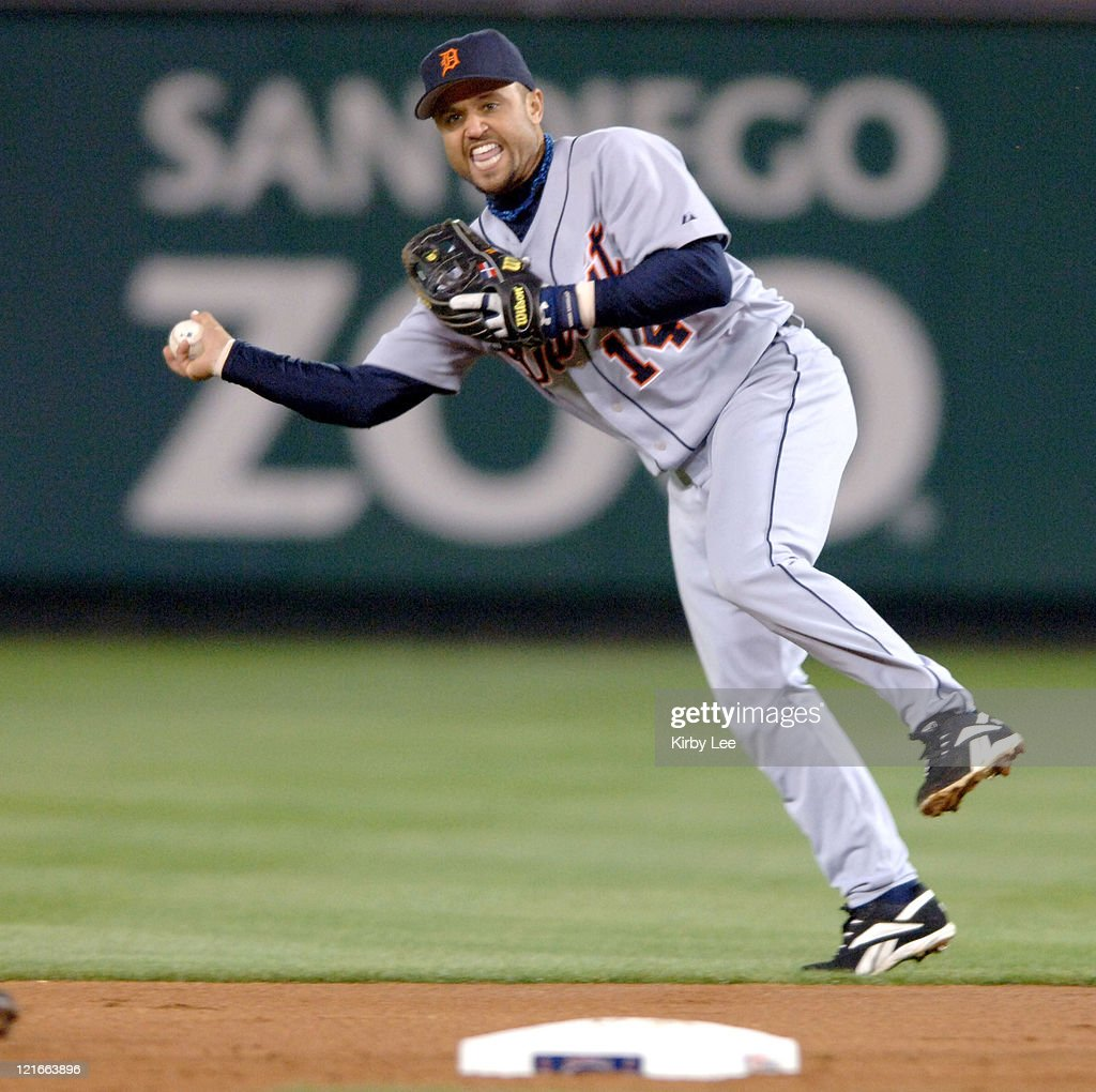 Placido Polanco makes a throw to second base during 5-2 victory over the Los Angeles Angels of Anaheim at Angel Stadium in Anaheim, Calif. on Tuesday, April 25, 2006.