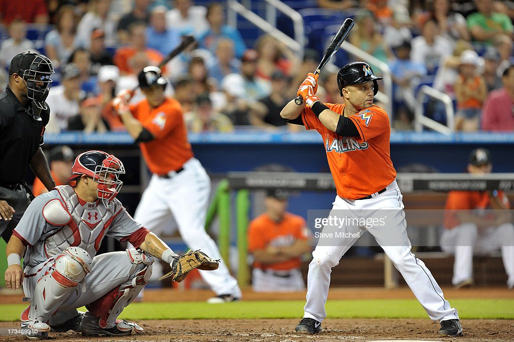 Placido Polanco #30 of the Miami Marlins at bat in the fifth inning against the Washington Nationals at Marlins Park on July 14, 2013 in Miami, Florida.