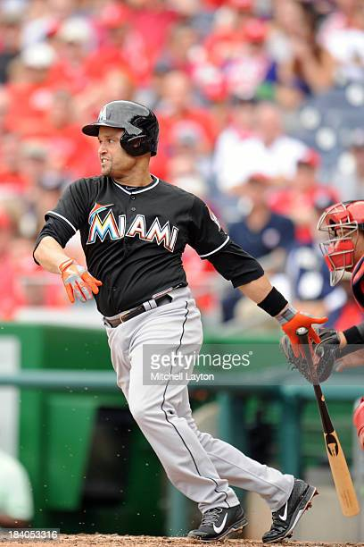 Placido Polanco of the Miami Marlins during game one of a baseball game against the Washington Nationals on September 22 2013 at Nationals Park in...