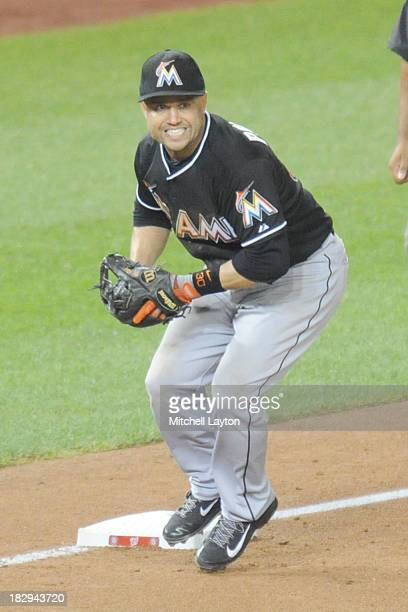 Placido Polanco of the Miami Marlins fields a ground ball during a baseball game against the Washington Nationals on September 19 2013 at Nationals...