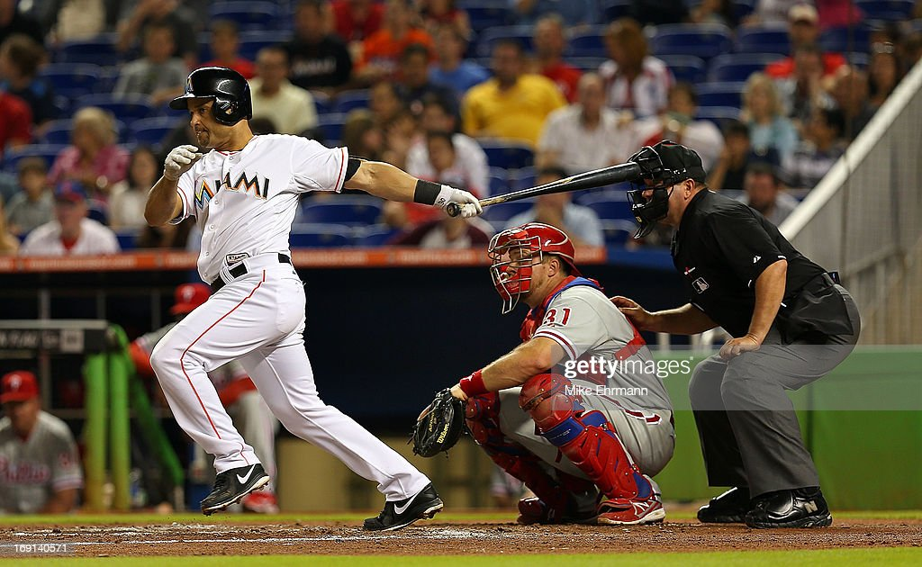 <a gi-track='captionPersonalityLinkClicked' href=/galleries/search?phrase=Placido+Polanco&family=editorial&specificpeople=213170 ng-click='$event.stopPropagation()'>Placido Polanco</a> #30 of the Miami Marlins hits during a game against the Philadelphia Phillies at Marlins Park on May 20, 2013 in Miami, Florida.