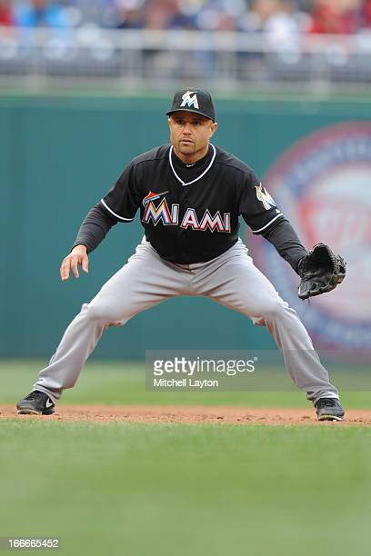Placido Polanco of the Miami Marlins in position during a baseball game against the Washington Nationals on April 4 2013 at Nationals Park in...
