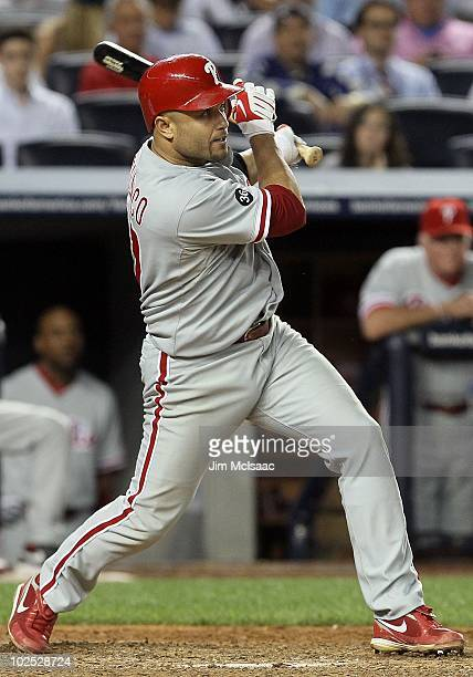 Placido Polanco of the Philadelphia Phillies bats against the New York Yankees on June 17 2010 at Yankee Stadium in the Bronx borough of New York...