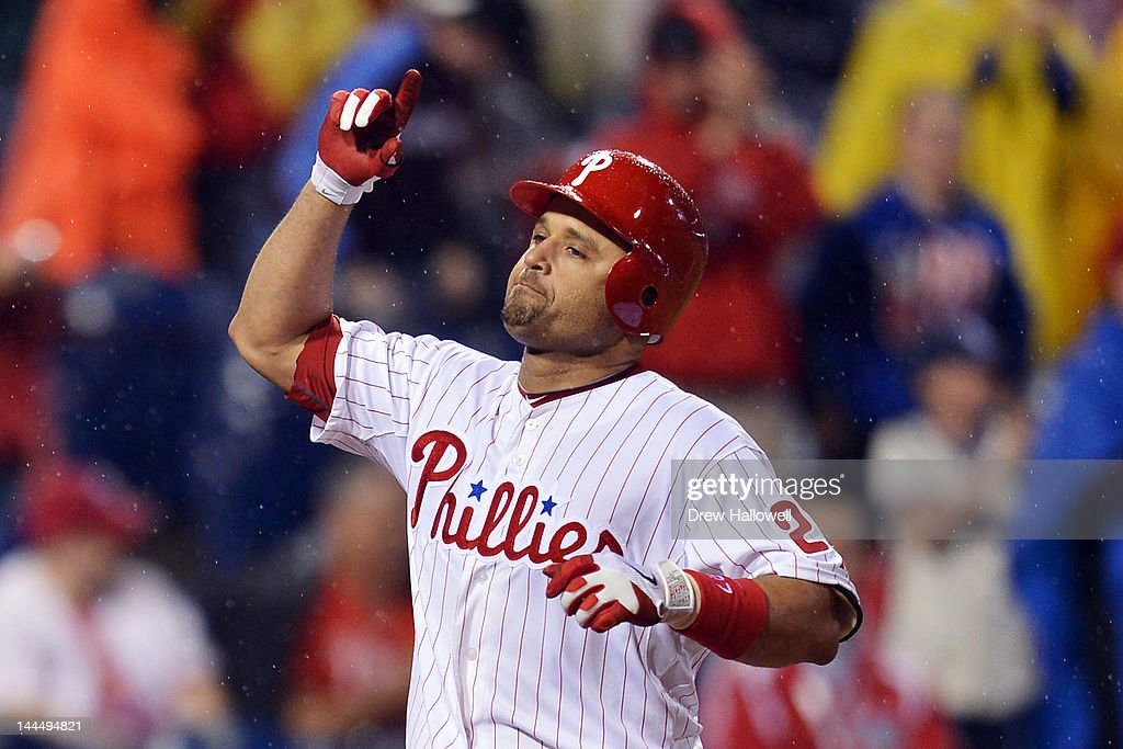 Placido Polanco #27 of the Philadelphia Phillies celebrates a two run home run and his 2000th hits of his career during the game against the Houston Astros at Citizens Bank Park on May 14, 2012 in Philadelphia, Pennsylvania. The Phillies won 5-1.