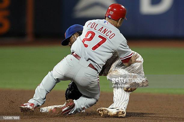 Placido Polanco of the Philadelphia Phillies collides with Jose Reyes of the New York Mets during the fifth inning on August 14 2010 at Citi Field in...