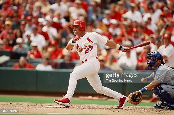 Placido Polanco of the St Louis Cardinals bats against the Los Angeles Dodgers on September 9 2001