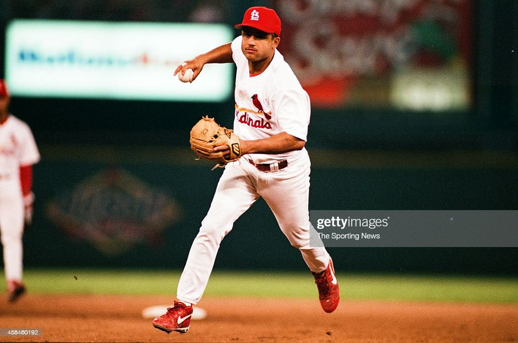 Placido Polanco of the St Louis Cardinals fields against the Cincinnati Reds at Busch Stadium on July 14 1998 in St Louis Missouri