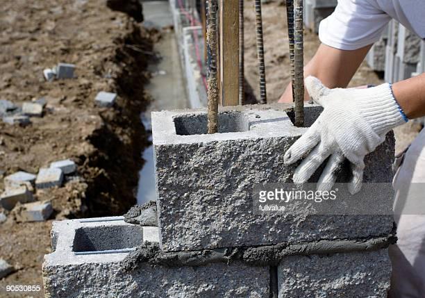 Inserimento di blocchi di cemento