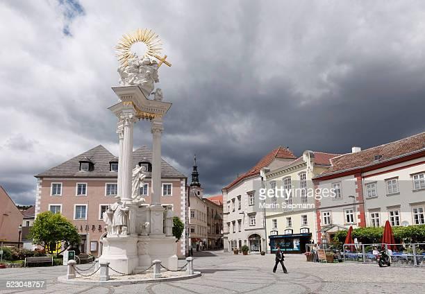 Plague column, Holy Trinity column, Dreifaltigkeitsplatz square, Krems an der Donau, Wachau, Lower Austria, Austria, Europe