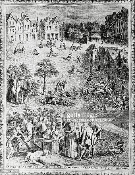 Plague in Paris in the Middle Ages engraving France
