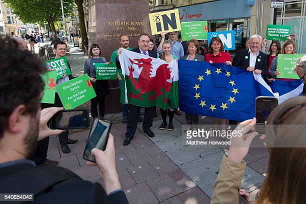 Plaid Cymru Leader Leanne Wood and former First Minister of Scotland Alex Salmond MP attend a rally at the Aneurin Bevan Statue on Queen Street as...