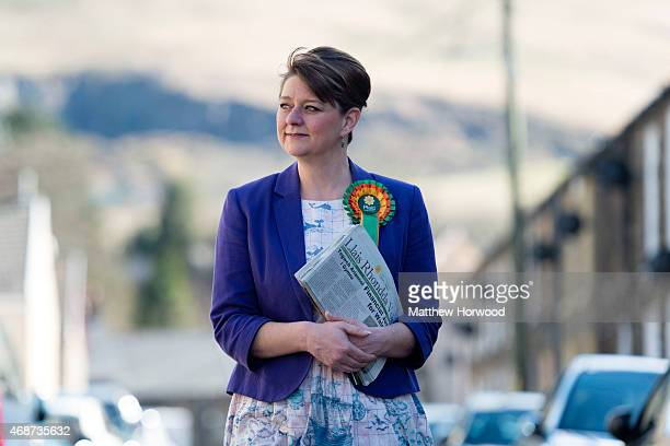 Plaid Cymru leader Leanne Wood campaigns in Ton Pentre on April 6 2015 in Rhondda Wales Britain goes to the polls in a general election on May 7